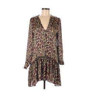Zara Animal Print Drop Waist Tunic Dress S